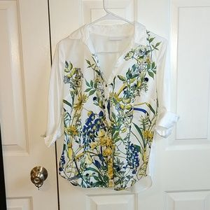 White Floral Button Down NWOT // NY & Company